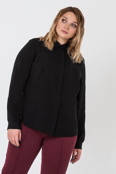Черная блузка прямая из штапеля большой размер