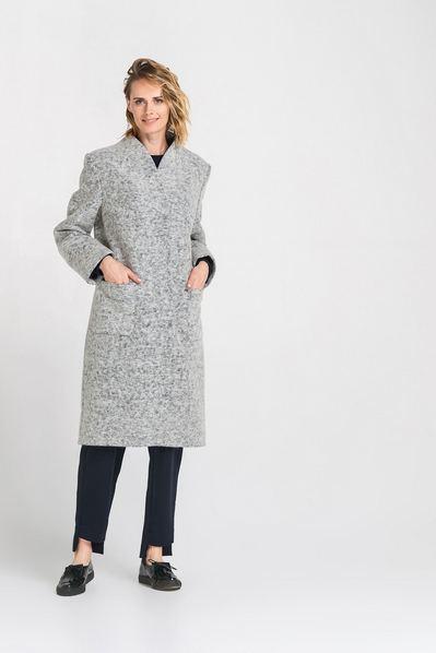 Шерстяное пальто с накладными карманами свет графитовое