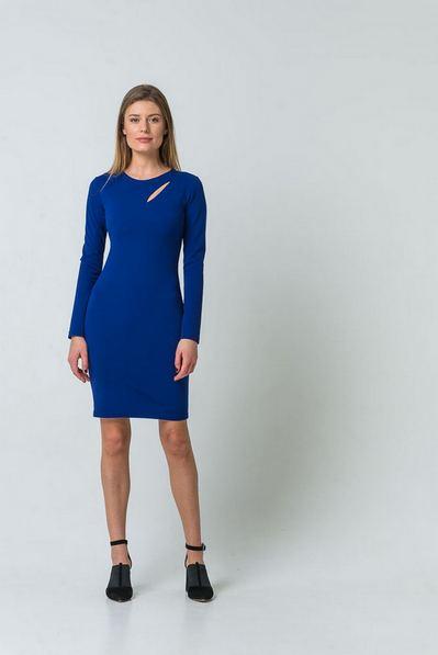 Платье до колен с разрезом темный электрик