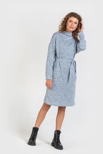 Трикотажное платье гольф с поясом небесный меланж