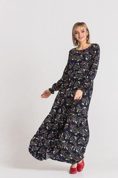 Темно-синее платье длинное с принтом веточки
