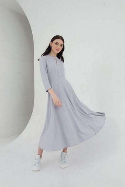Платье миди со вшитым поясом графитовое