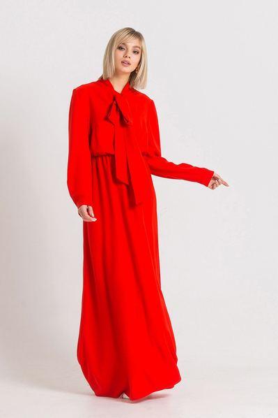 Красное платье в пол с завязкой