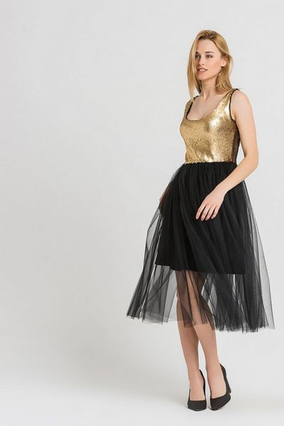 Платье майка миди золото-черное