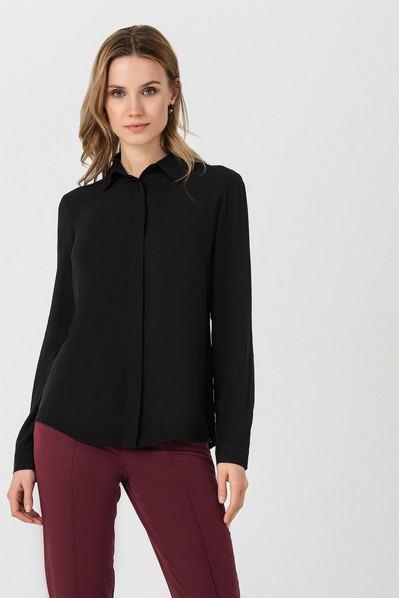 Прямая черная блуза со штапеля