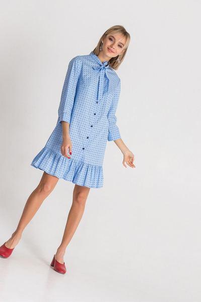 Платье-рубашка с принтом якоря на небесном фоне