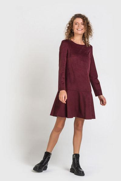 Бордовое платье мини с воланом