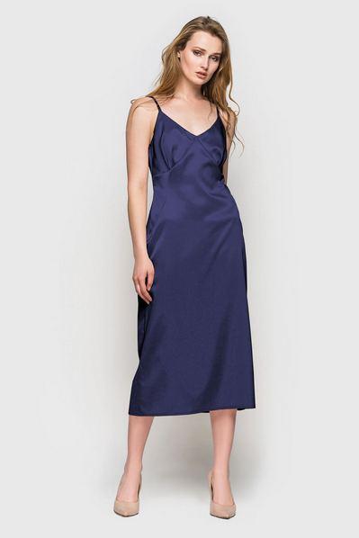 Синее платье миди на бретелях с воланом
