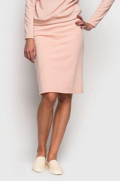 Трикотажная юбка пудровая