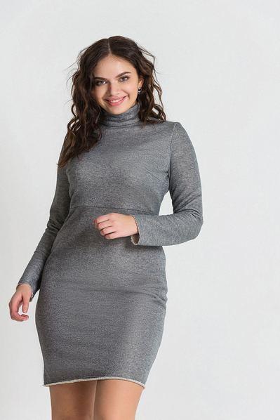 Трикотажное платье-гольф с люрексом светло-графитовое большой размер
