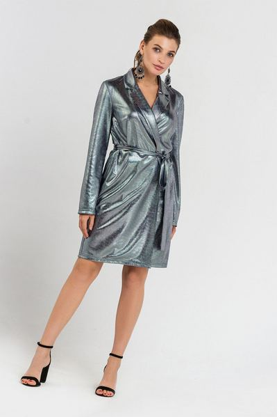 Вечернее платье жакет с поясом серебряно-синее