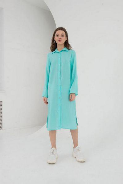 Мятное льняное платье-рубашка