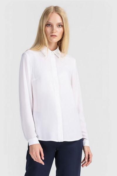 Белая блузка прямая из штапеля