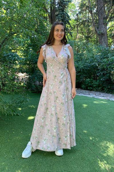 Длинное платье с воланами принт лилии цвета лаванды