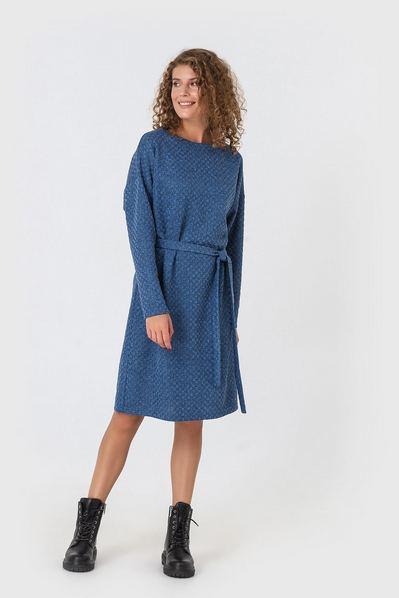 Синее платье теплое с поясом из трикотажа