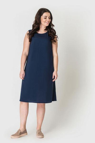 Штапельное платье майка темно-синее большой размер