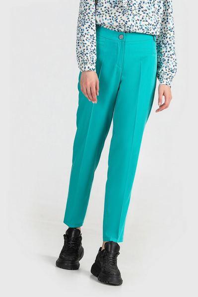 Бирюзовые брюки зауженные из костюмной ткани