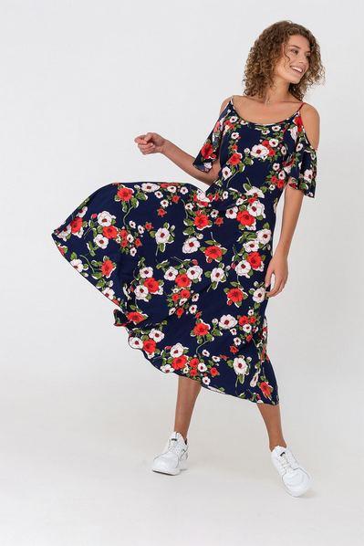 Синее платье миди с воланами на рукавах и цветочным принтом
