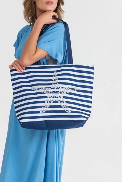 Пляжная сумка звезда на сине-белой полоске