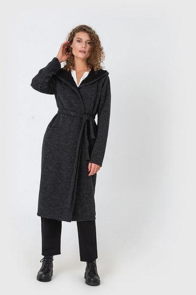 Черное пальто-кардиган с капюшоном