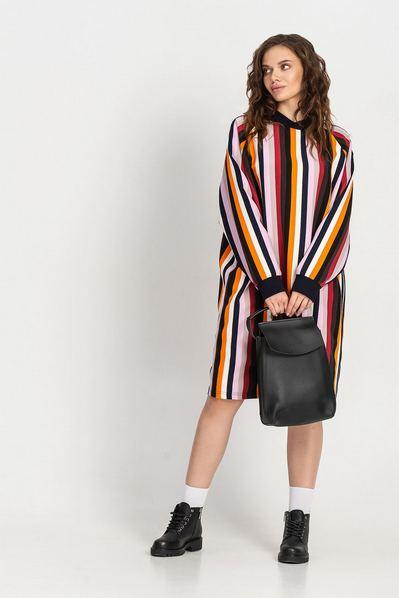Разноцветное платье свитшот до колена в полоску большой размер