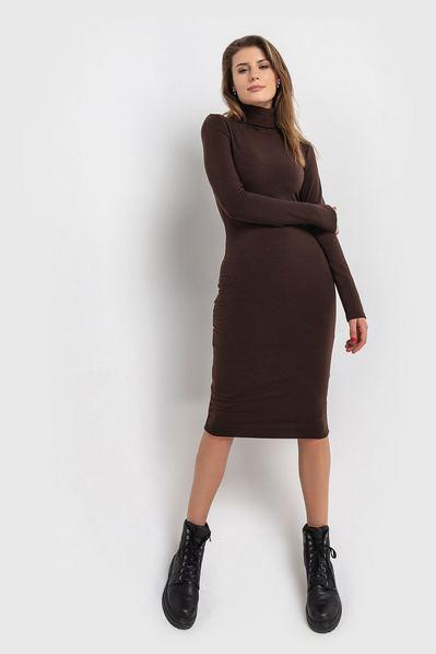 Теплое платье гольф с начесом шокладное