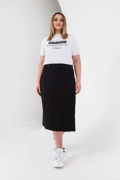 Черная юбка миди на запах большой размер