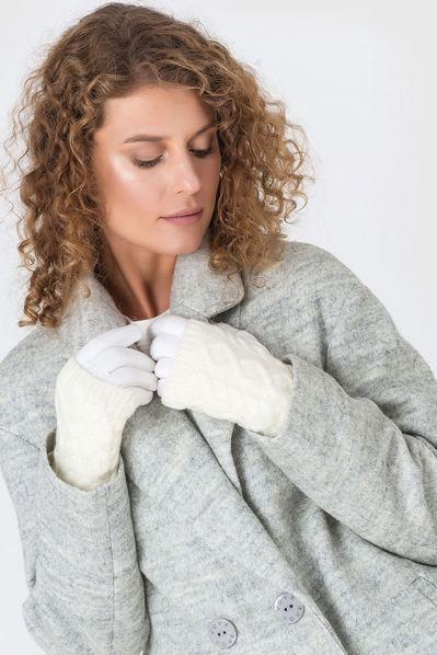 Белые перчатки-митенки