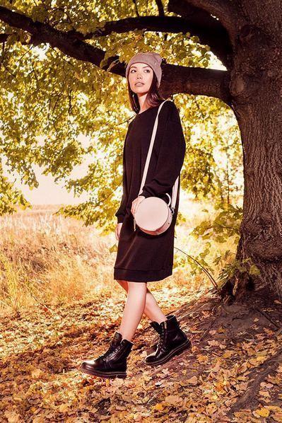 Черное платье-свитшот деми из трикотажа