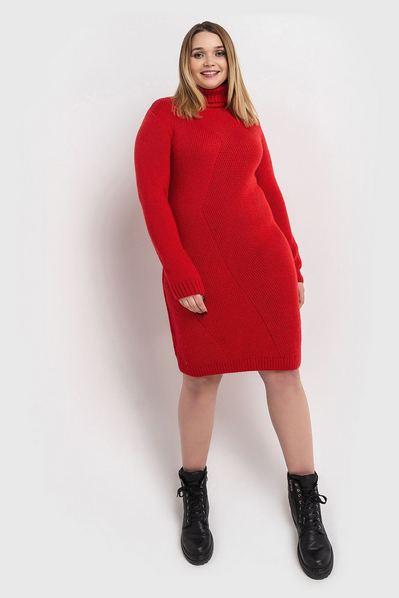 Красное платье вязаное диагональю большой размер