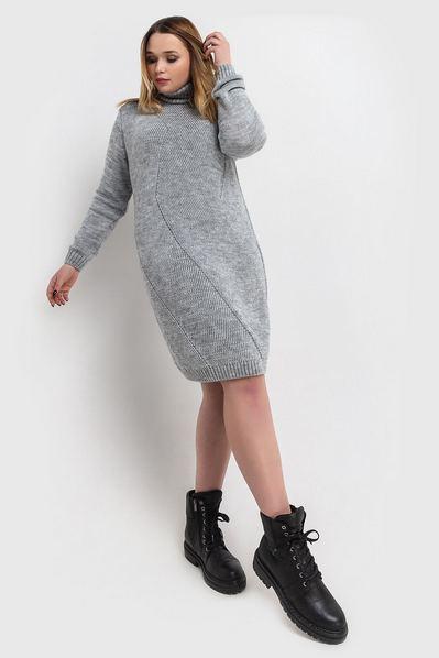 Вязаное платье серое с диагональю большой размер