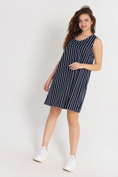 Темно-синее платье майка в белую полосу большой размер