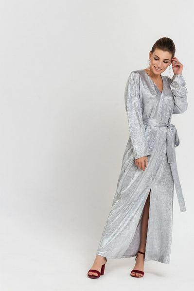 Серебряное платье макси с разрезом