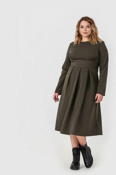 Платье миди цвета хаки из костюмной ткани большой размер