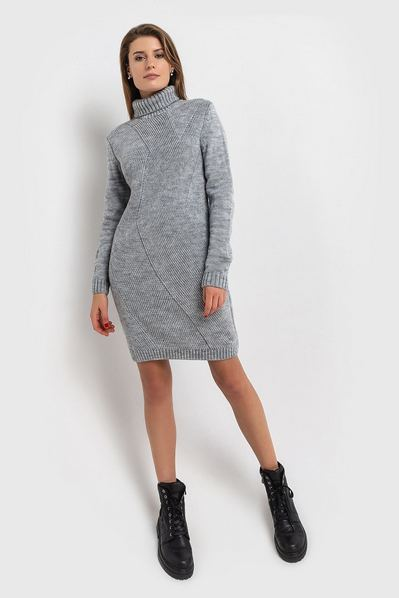 Вязаное платье серое с диагональю