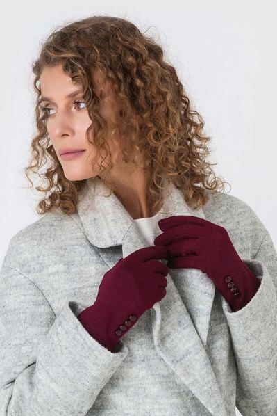 Бордовые перчатки с пуговицами