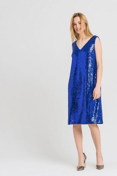 Платье майка деми мини-пайетки цвета электрик