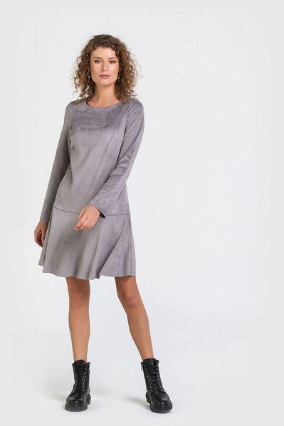 Замшевое платье мини с воланом светло-графитовое
