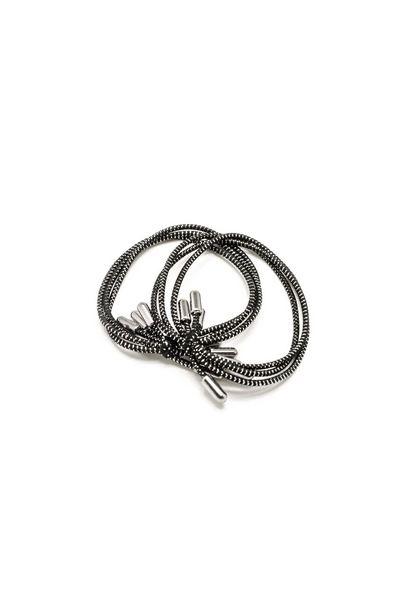 Набор черных тонких тройных резинок для волос с металлическими наконечниками