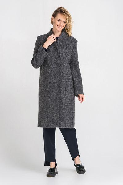 Шерстяное пальто с карманами миди графитовое
