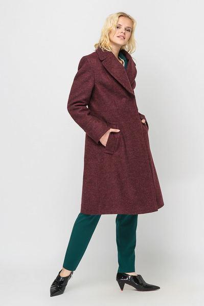 Зимнее пальто шинель бордовое