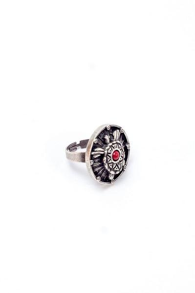Кольцо Звездная черепаха с коралловой вставкой