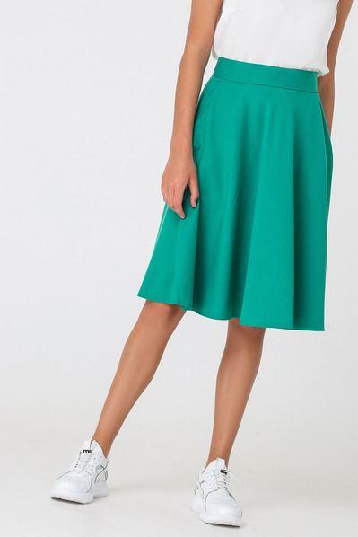 Травяная юбка полусолнце из костюмной ткани