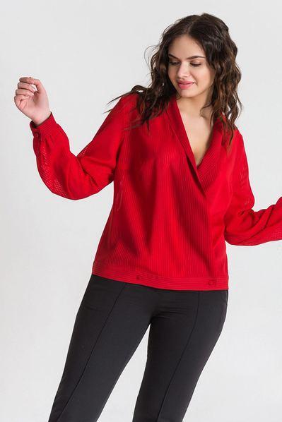 Красная блуза с запахом из шифона в полоску большой размер