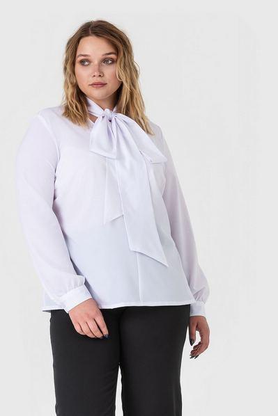 Белая блузка с объемной завязкой большой размер