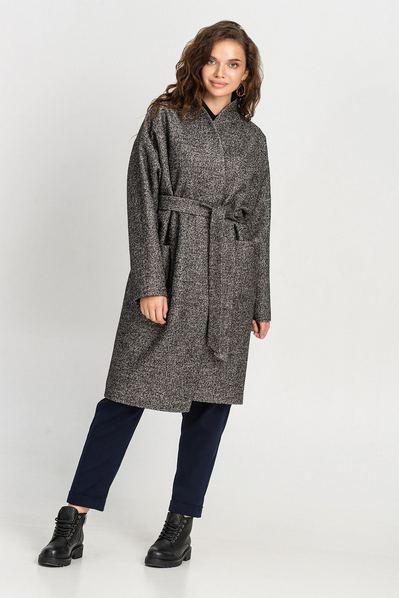 Женское пальто-кимоно с поясом графитовое большой размер