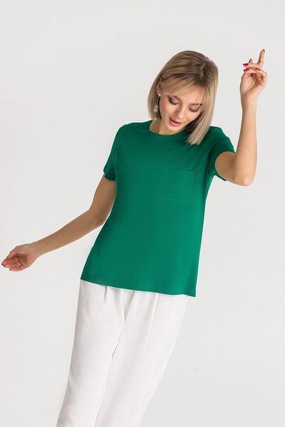 Женская футболка трикотажная изумрудная