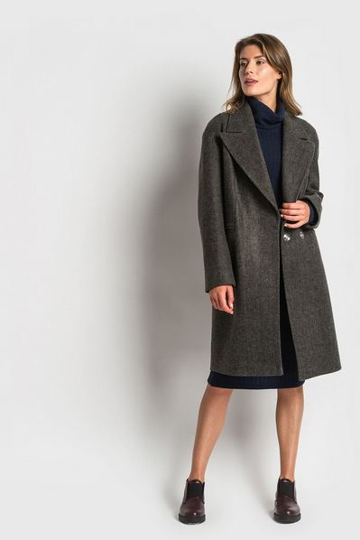 Женское пальто шерстяное с широким воротником графитовое