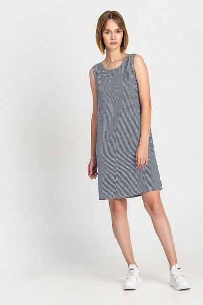 Темно-синее платье майка в мелкую полоску