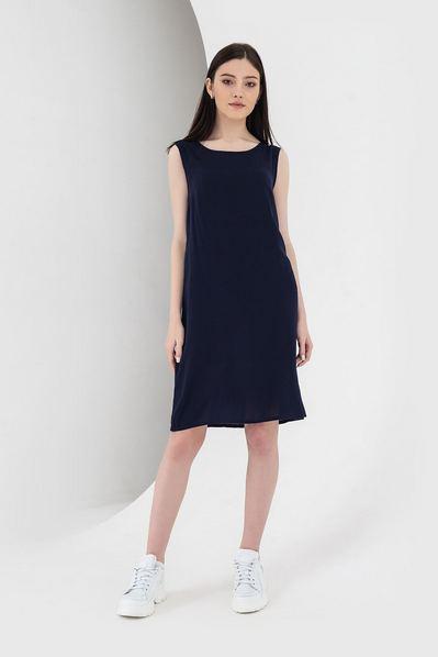 Штапельное платье майка темно-синее